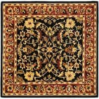 Safavieh Handmade Heritage Timeless Traditional Black/ Red Wool Rug - 6' x 6' Square