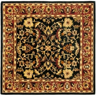 Safavieh Handmade Heritage Timeless Traditional Black/ Red Wool Rug (8' Square)