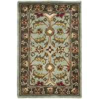 Safavieh Handmade Heritage Timeless Traditional Blue/ Brown Wool Rug - 2' x 3'
