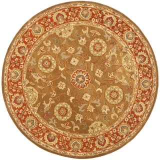Safavieh Handmade Heritage Timeless Traditional Beige/ Rust Wool Rug (6' Round)