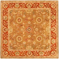 Safavieh Handmade Heritage Timeless Traditional Beige/ Rust Wool Rug (6' Square)