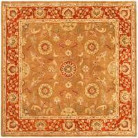 Safavieh Handmade Heritage Timeless Traditional Beige/ Rust Wool Rug - 6' x 6' Square