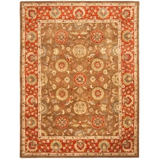Safavieh Handmade Heritage Timeless Traditional Beige/ Rust Wool Rug (7'6 x 9'6)