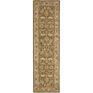 Safavieh Handmade Heritage Timeless Traditional Green/ Beige Wool Runner (2'3 x 8')