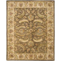 Safavieh Handmade Heritage Timeless Traditional Green/ Beige Wool Rug - 4' x 6'