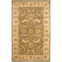 Safavieh Handmade Heritage Timeless Traditional Green/ Beige Wool Rug - 4' x 6'
