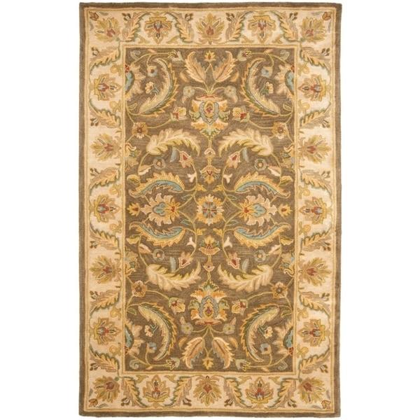 Safavieh Handmade Heritage Timeless Traditional Green/ Beige Wool Rug - 5' x 8'