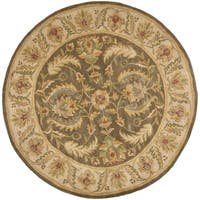 Safavieh Handmade Heritage Timeless Traditional Green/ Beige Wool Rug - 6' x 6' Round