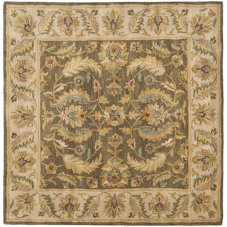Safavieh Handmade Heritage Timeless Traditional Green/ Beige Wool Rug (6' Square)