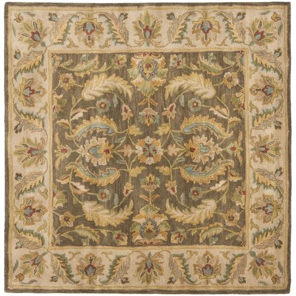 Safavieh Handmade Heritage Timeless Traditional Green/ Beige Wool Rug (6' Square)