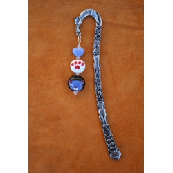 Thumbnail 2, Handmade Beadwork by Julie Pewter Beaded Cat Bookmark. Changes active main hero.