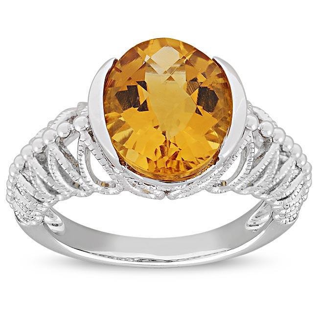 Miadora New York Gems Sterling Silver Oval Citrine Milligrain Ring