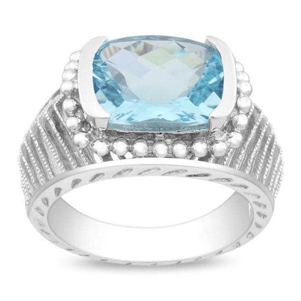 Miadora Gems Sterling Silver Sky Blue Topaz Milligrain Ring