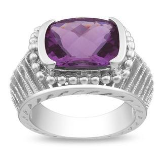 Miadora Gems Sterling Silver Amethyst Milligrain Ring