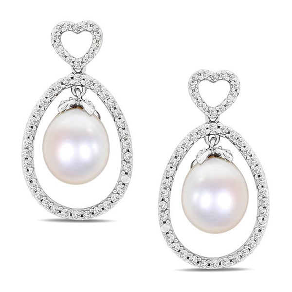 Miadora Sterling Silver Cubic Zirconia and Pearl Earrings (9-9.5 mm)