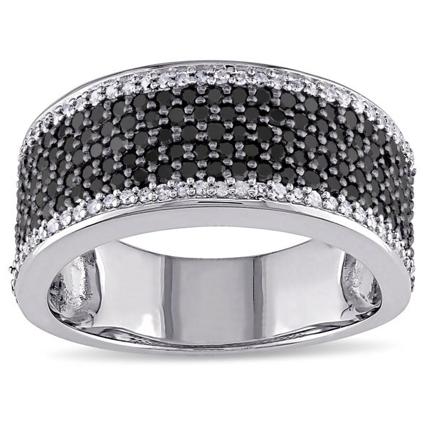 Miadora Sterling Silver 1ct TDW Black-and-white Pave Diamond Ring