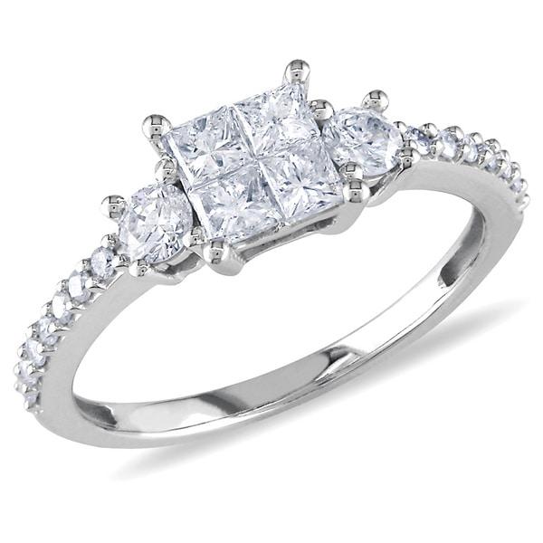 Miadora 14k White Gold 3/4ct TDW Diamond Engagement Ring