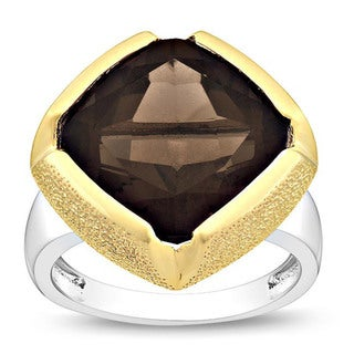 Miadora Gems Yellow Silver Cushion-cut Smokey Quartz Fashion Ring
