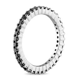 Miadora Sterling Silver 1ct TDW Black Diamond Eternity Ring - Thumbnail 1