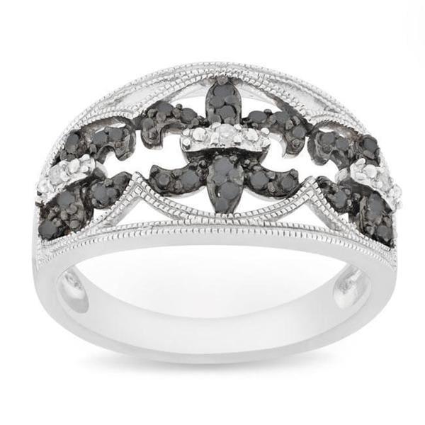 Miadora Silver 1/4 CT TDW Black and White Diamond Ring