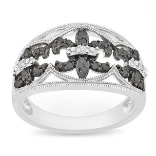 Miadora Silver 1/4 CT TDW Black and White Diamond Ring (H-I, I3)