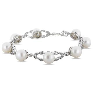Miadora Sterling Silver Pearl and Cubic Zirconia Bracelet (8.5-9 mm)