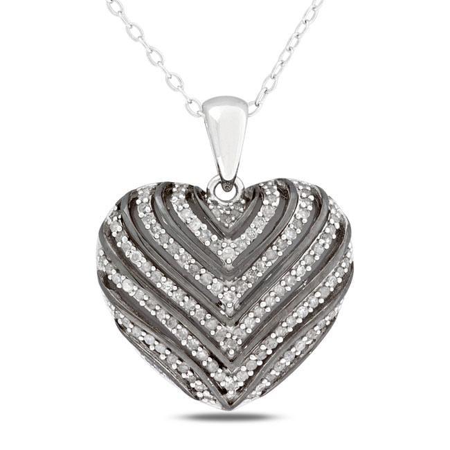 Miadora Sterling Silver 1/2ct TDW Diamond Heart Necklace