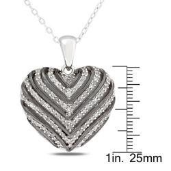 Miadora Sterling Silver 1/2ct TDW Diamond Heart Necklace - Thumbnail 2