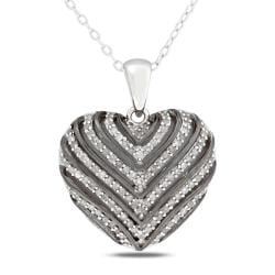 Miadora Sterling Silver 1/2ct TDW Diamond Heart Necklace