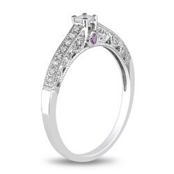 Miadora 10k White Gold Pink Sapphire and 1/6ct TDW Diamond Ring