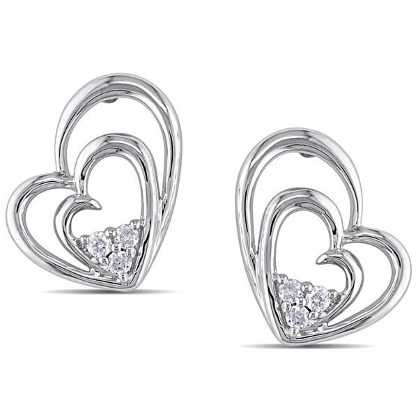 9ac0cae65 Shop Miadora Sterling Silver 1/10ct TDW Diamond Heart Earrings ...