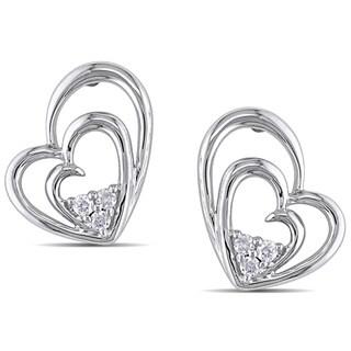 Miadora Sterling Silver 1/10ct TDW Diamond Heart Earrings