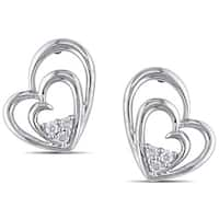 Miadora Sterling Silver 1/10ct TDW Diamond Heart Earrings