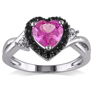 Miadora Sterling Silver Created Sapphire and Diamond Accent Ring