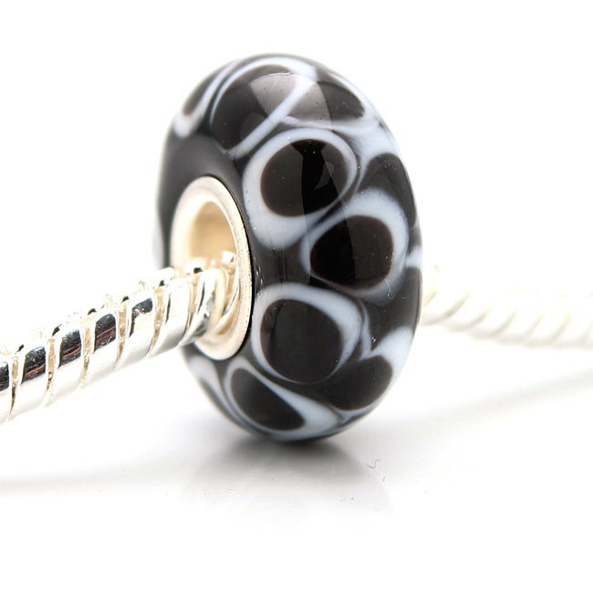 Murano-inspired Glass Black and White Bubble Charm Beads (Set of 2)