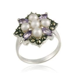 Glitzy Rocks Silver Pearl, Amethyst and Marcasite Cluster Ring (4-5 mm)