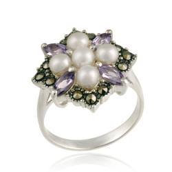 Glitzy Rocks Silver Pearl, Amethyst and Marcasite Cluster Ring (4-5 mm) (More options available)