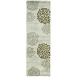 Safavieh Handmade Soho Botanical Light Grey N. Z. Wool Runner (2'6 x 10')
