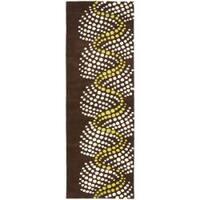 "Safavieh Handmade Soho Waves Modern Abstract Brown Wool Runner Rug - 2'6"" x 12'"
