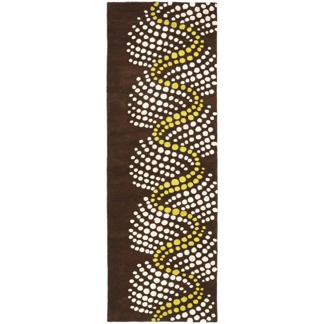 Safavieh Handmade Soho Waves Modern Abstract Brown Wool Runner Rug (2' 6 x 8')