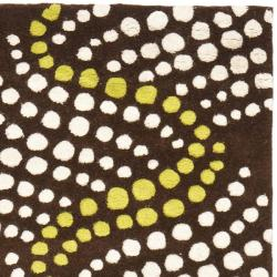 Safavieh Handmade Soho Waves Modern Abstract Brown Wool Runner Rug (2' 6 x 8') - Thumbnail 1