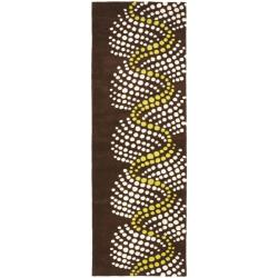 Safavieh Handmade Soho Waves Modern Abstract Brown Wool Runner Rug (2' 6 x 8')