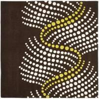 Safavieh Handmade Soho Waves Modern Abstract Brown Wool Rug - 6' x 6' Square