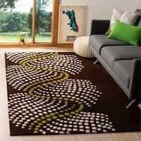 Safavieh Handmade Soho Waves Modern Abstract Brown Wool Rug - 7'6 x 9'6