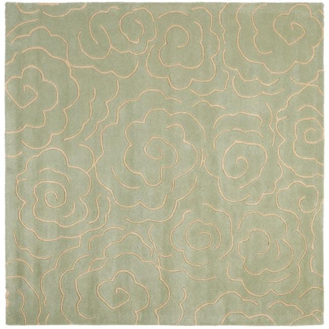 Safavieh Handmade Soho Roses Light Blue New Zealand Wool Rug (6' Square)