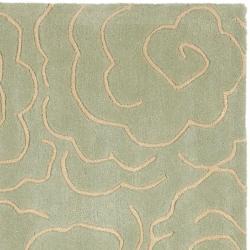 Safavieh Handmade Soho Roses Light Blue New Zealand Wool Rug (6' Square) - Thumbnail 1
