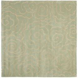 Safavieh Handmade Soho Roses Light Blue New Zealand Wool Rug (6' Square) - 6' - Thumbnail 0