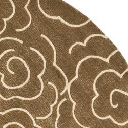 Safavieh Handmade Soho Roses Brown New Zealand Wool Rug (6' Round) - Thumbnail 1