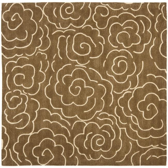 Safavieh Handmade Soho Roses Brown New Zealand Wool Rug (6' Square)