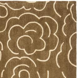 Safavieh Handmade Soho Roses Brown New Zealand Wool Rug (6' Square) - Thumbnail 1